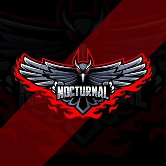 Projekt szablonu e-sportowego logo maskotki ptaka nocturnal raven