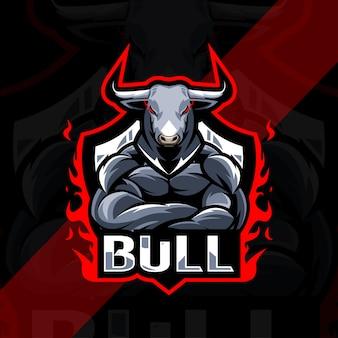 Projekt szablonu esport logo byka maskotka