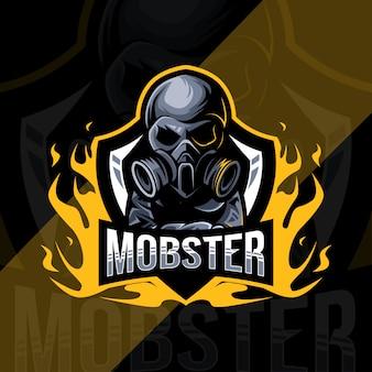 Projekt szablonu esport logo maskotki gangstera