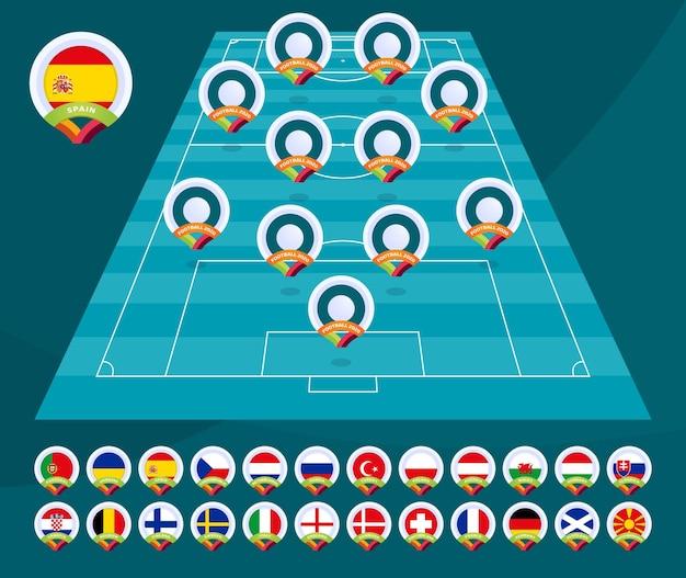 Projekt szablonu graficznego transmisji turnieju ligi piłki nożnej 2020. skład drużyn na wypełnionych grafikach piłkarskich