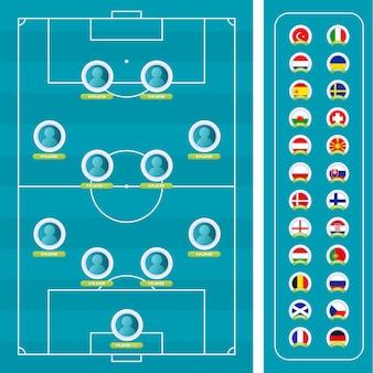 Projekt szablonu graficznego transmisji turnieju ligi piłki nożnej. skład drużyn na wypełnionej grafice piłkarskiej dla początkowego składu piłkarskiego.