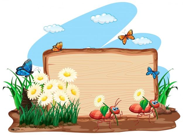 Projekt szablonu granicy z owadami w tle ogrodu
