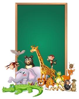 Projekt szablonu granicy z uroczymi zwierzętami