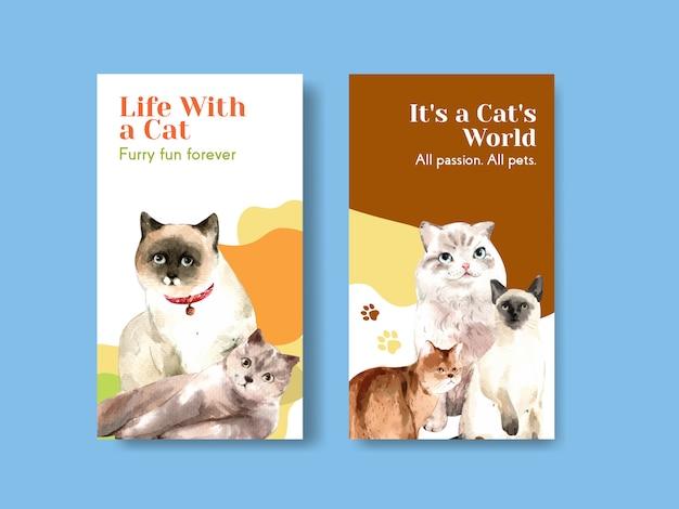 Projekt szablonu historii na instagramie z uroczą ilustracją kota w stylu przypominającym akwarele