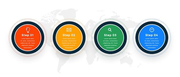 Projekt szablonu infografika nowoczesny okrągły osi czasu