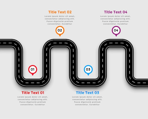 Projekt szablonu infografikę krętej drogi