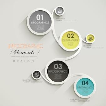 Projekt szablonu infografiki biznesowej z połączonymi elementami koła