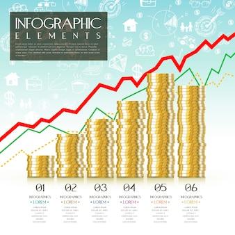 Projekt szablonu infografiki finansowej z elementem monety