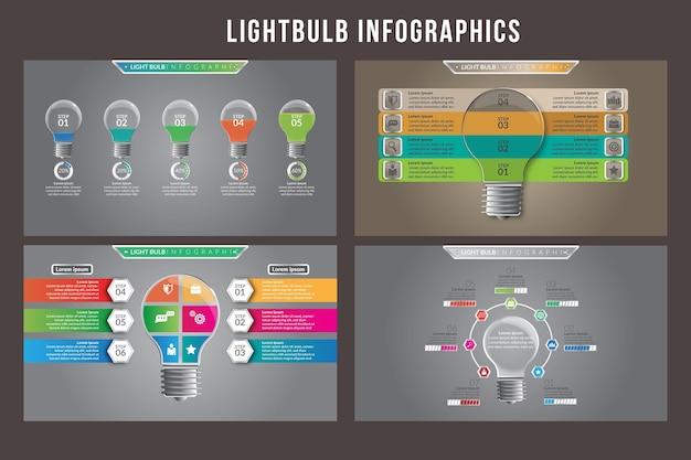 Projekt szablonu infografiki żarówki