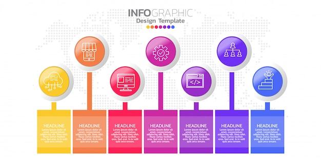 Projekt szablonu infographic z siedmioma opcjami kolorów.