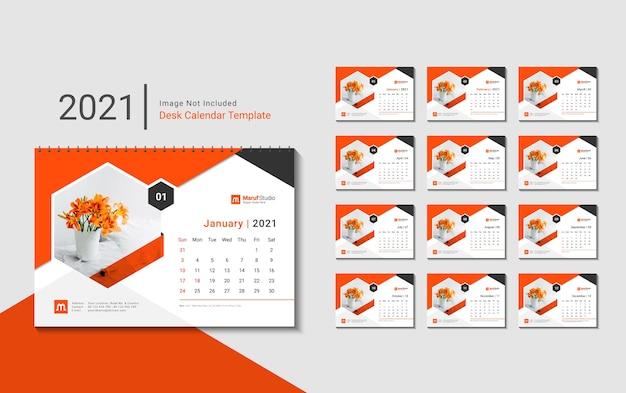 Projekt szablonu kalendarza na biurko na nowy rok