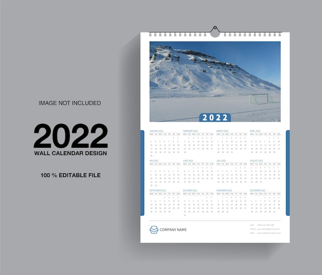 Projekt szablonu kalendarza ściennego 2022 lub miesięczny planer i planer roczny
