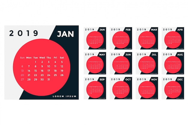 Projekt szablonu kalendarza w 2019 roku