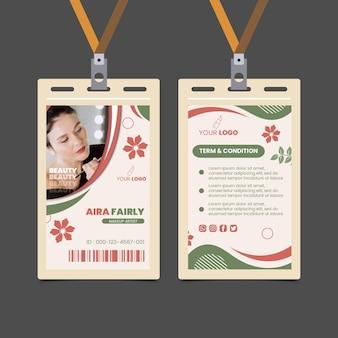 Projekt szablonu karty identyfikacyjnej salonu piękności