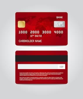 Projekt szablonu karty kredytowej. dwie strony. wektor
