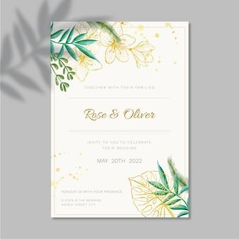 Projekt szablonu karty ślubu kwiatowy