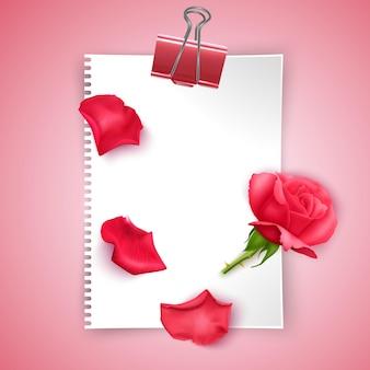 Projekt szablonu karty z pozdrowieniami z czerwoną różą i kartką papieru