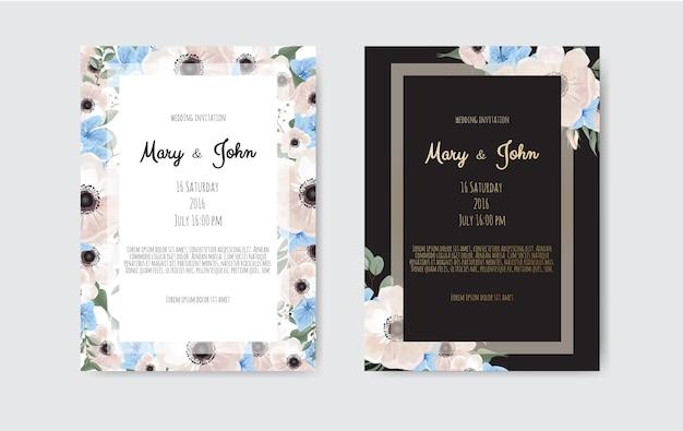 Projekt szablonu karty zaproszenia ślubne botaniczne, białe i różowe kwiaty.