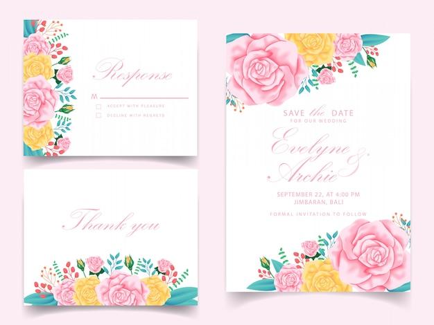 Projekt szablonu karty zaproszenie kwiatowy wesele
