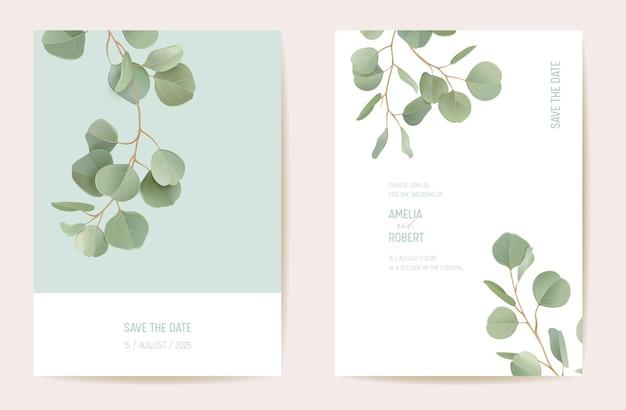 Projekt szablonu karty zaproszenie na ślub botaniczny, realistyczny zestaw ramek zieleni liści. eukaliptus, zielony liść gałęzie akwarela minimalny wektor. save the date nowoczesny plakat, modne luksusowe tło