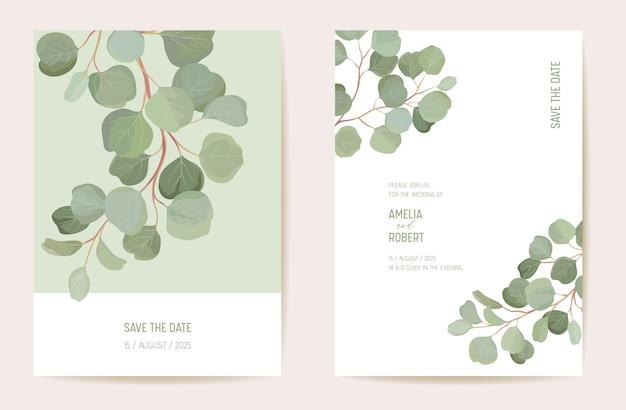 Projekt szablonu karty zaproszenie na ślub botaniczny, zestaw rama tropikalnych liści zieleni. eukaliptus, zielony liść gałęzie akwarela minimalny wektor. save the date nowoczesny plakat, modne luksusowe tło