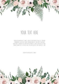 Projekt szablonu karty zaproszenie ślubne botaniczny