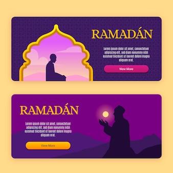 Projekt szablonu kolekcji banner ramadan