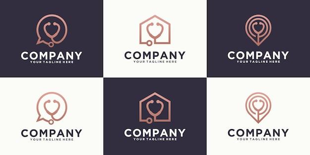 Projekt szablonu kreatywnego zestawu logo lekarza