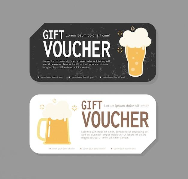 Projekt szablonu kuponu prezentowego na otwarcie imprezy piwnej, kupon rabatowy z kubkiem bezpłatnego piwa w celu zwiększenia sprzedaży piwa w barze i kawiarni, ilustracja oferty specjalnej lub kuponów certyfikatów
