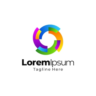 Projekt szablonu logo gradientu koła