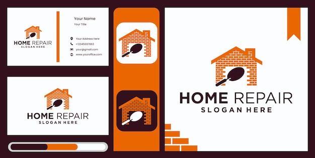 Projekt szablonu logo home improvement, remont domu logo firmy zajmującej się remontami domów z eleganckim i luksusowym wyświetlaczem wizytówek