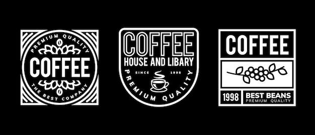 Projekt szablonu logo kawy w czerni i bieli
