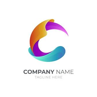 Projekt szablonu logo litera c na białym tle