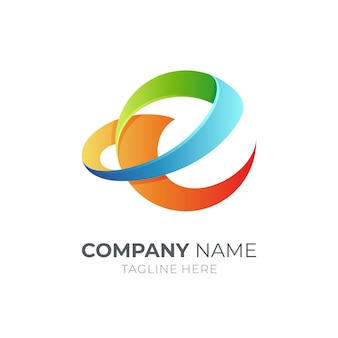 Projekt szablonu logo litery e na białym tle