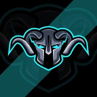 Projekt szablonu logo maskotka głowa wikinga