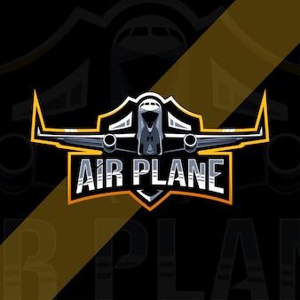 Projekt szablonu logo maskotka samolotu