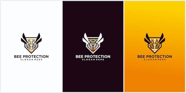 Projekt szablonu logo ochrony pszczół, ochrona projektu szablonu logo honey shield, ikona symbolu logo pszczoły wektor ilustracja projektu graficznego