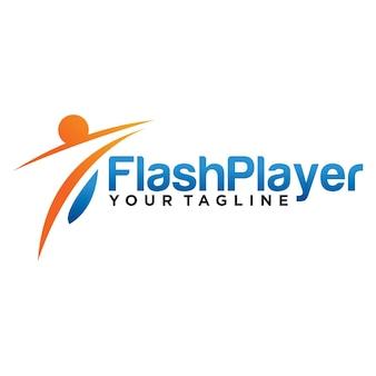Projekt szablonu logo odtwarzacza flash na białym tle