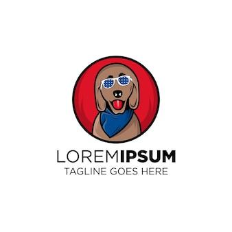 Projekt szablonu logo psa pies używa okularów przeciwsłonecznych