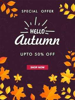 Projekt szablonu lub ulotki hello autumn.