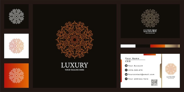 Projekt szablonu luksusowego logo mandali lub ornamentu z wizytówką
