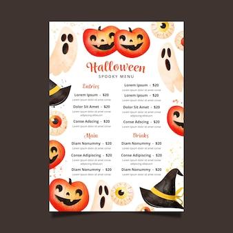Projekt szablonu menu festiwalu halloween