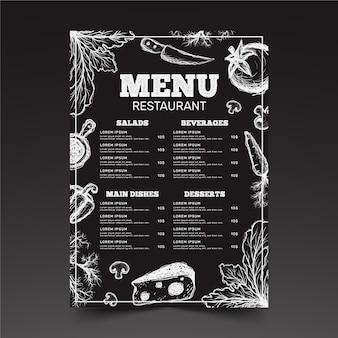 Projekt szablonu menu restauracji