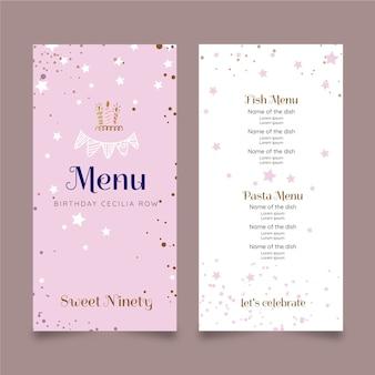 Projekt szablonu menu urodziny
