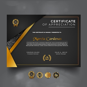 Projekt szablonu nowoczesnego ciemnego luksusowego profesjonalnego certyfikatu