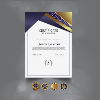 Projekt szablonu nowoczesnego luksusowego profesjonalnego certyfikatu