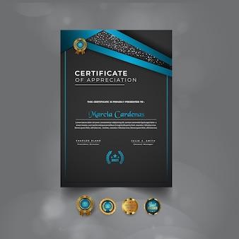 Projekt szablonu nowoczesnego niebieskiego profesjonalnego certyfikatu