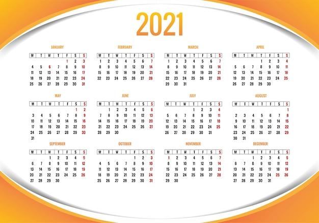 Projekt szablonu nowoczesnego układu kalendarza 2021