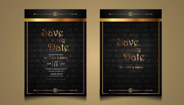 Projekt szablonu nowoczesnego złotego zaproszenia na ślub