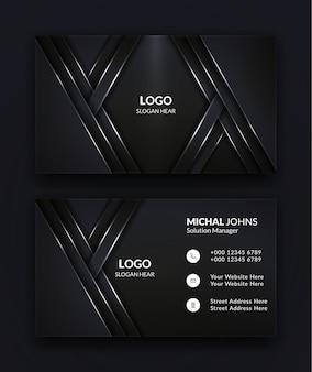Projekt szablonu nowoczesnej wizytówki w kolorze czarnym.